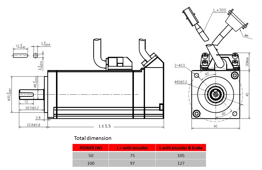 servo motor Product dimension drawing - frame 40mm