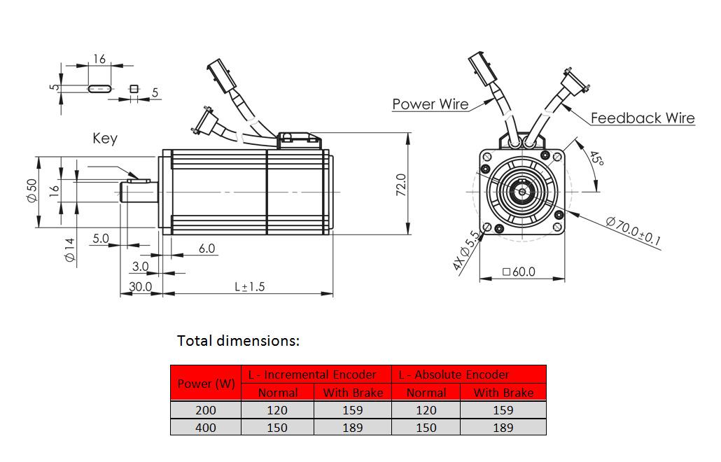servo motor Product dimension drawing - frame 60mm