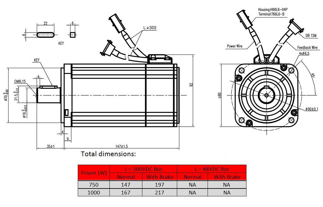 servo motor Product dimension drawing - frame 80mm